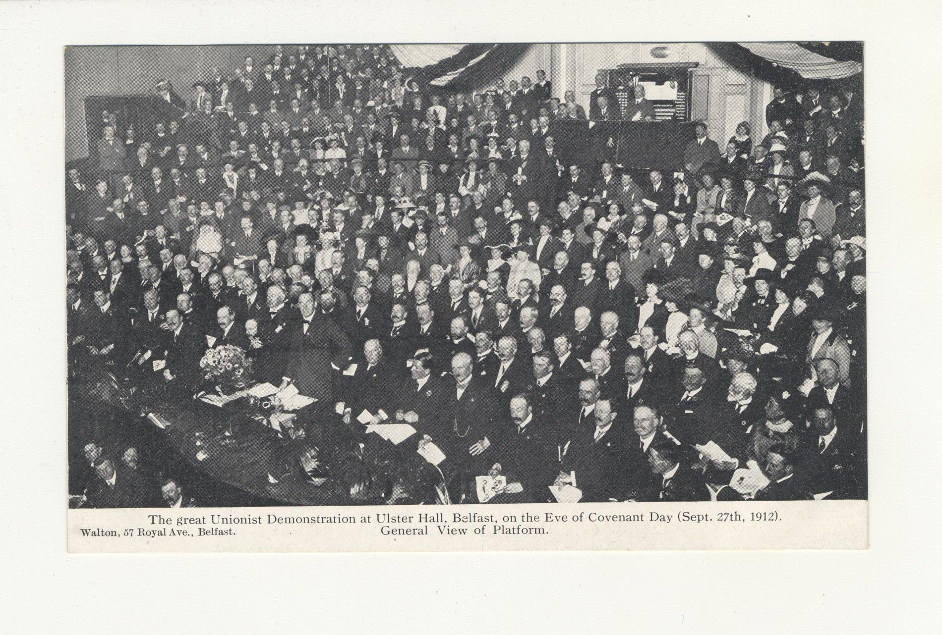 The Great Unionist Demonstration at Ulster Hall (Postcard)