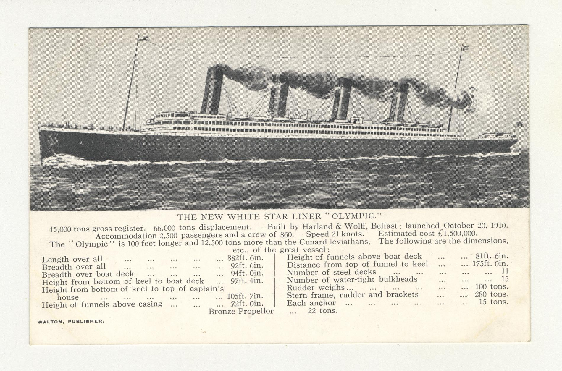 """The New White Star Liner """"Olympic"""" (Postcard)"""