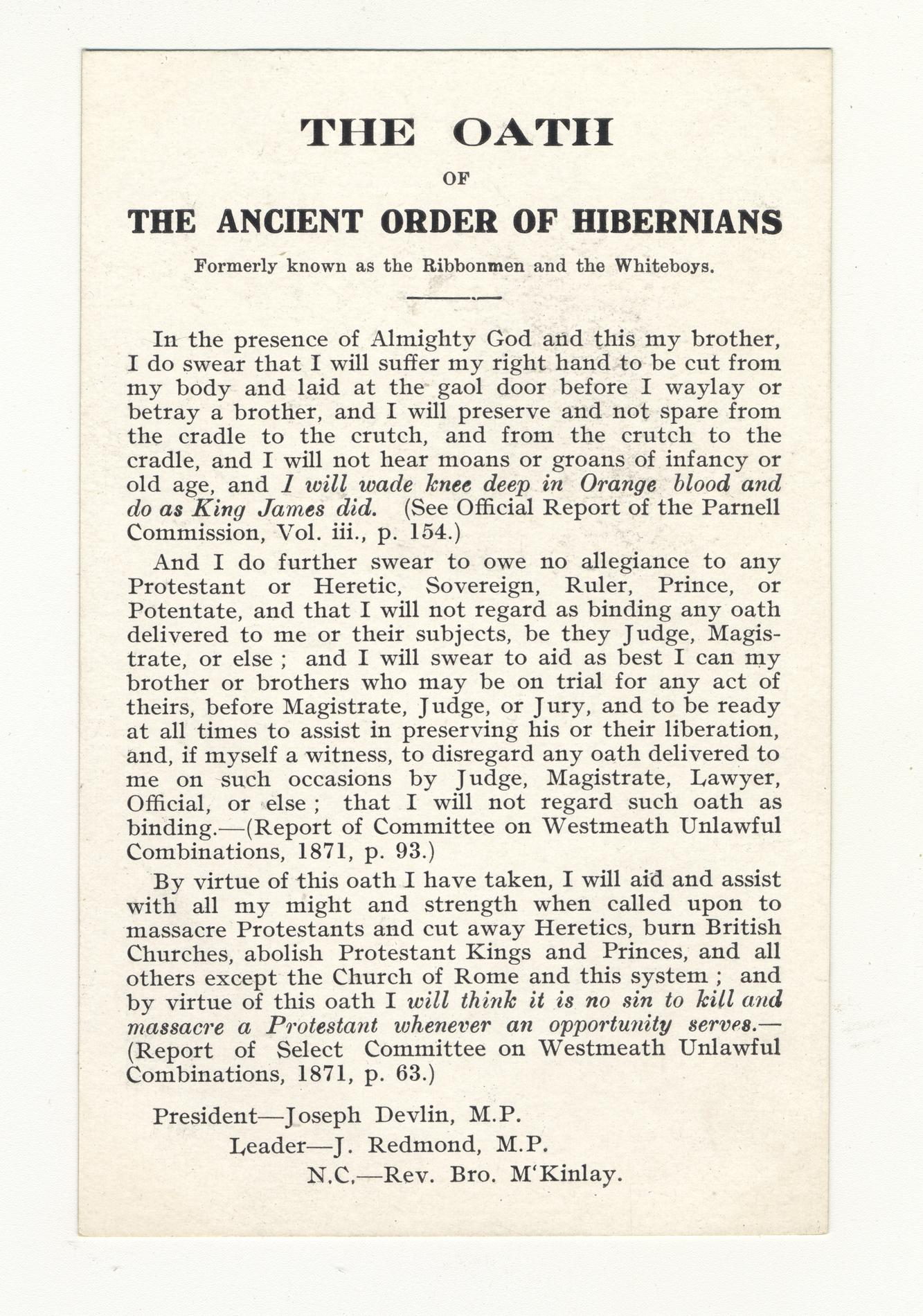 The Oath, Ancient Order of Hiberians (Postcard)
