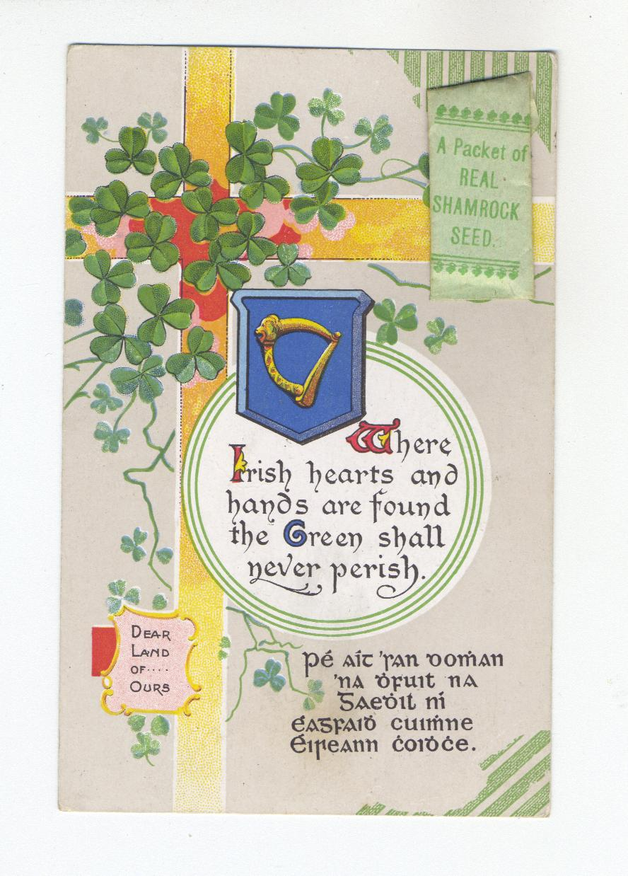 Where Irish hearts and hands are found the Green will never Perish (Postcard)