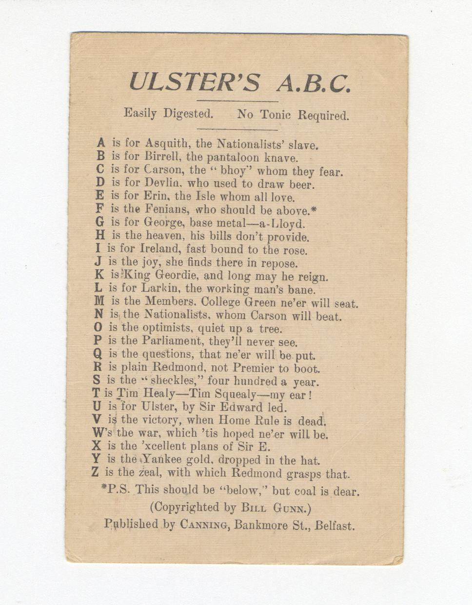 Ulster's ABC (Postcard)