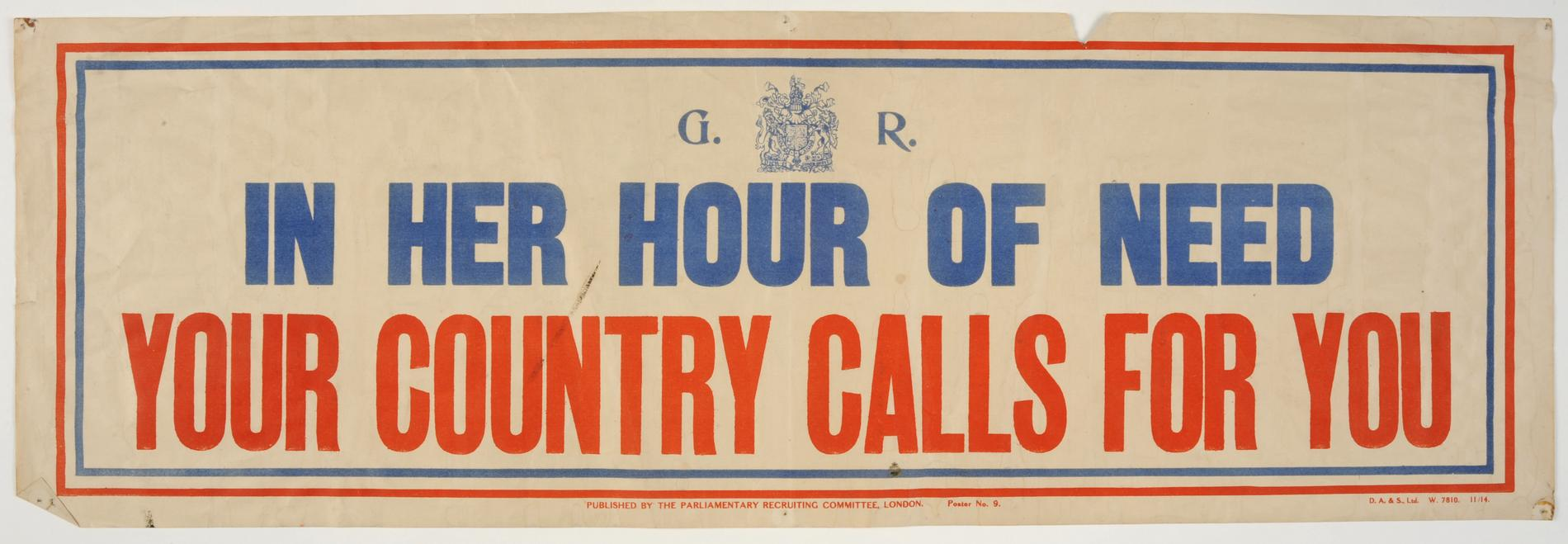 'In Her Hour of Need Your Country Calls for You' (Poster)