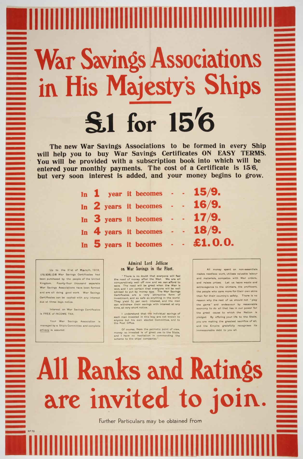 War Savings Associations in His Majesty's ships (Poster)