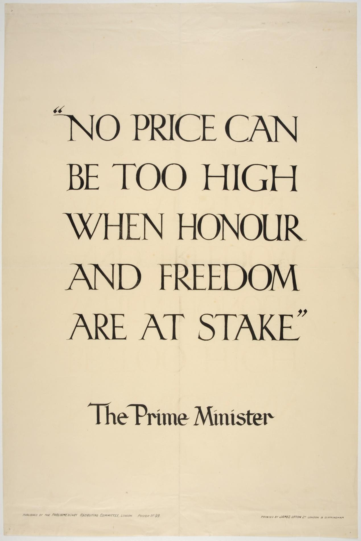 """'""""No price can be too high when honour and freedom are at stake"""" (Poster)"""