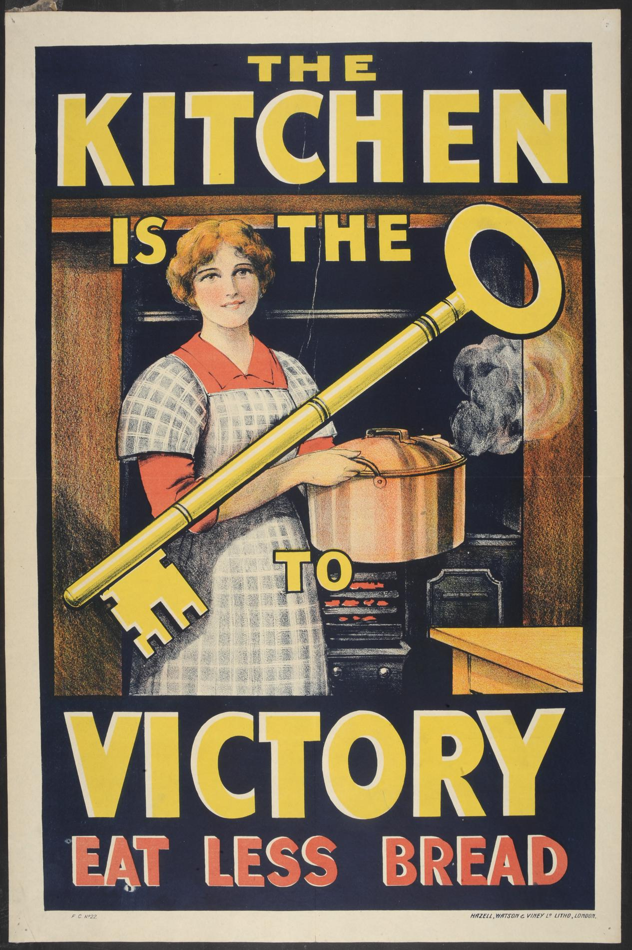 The kitchen is the key to victory. Eat less bread (Poster)
