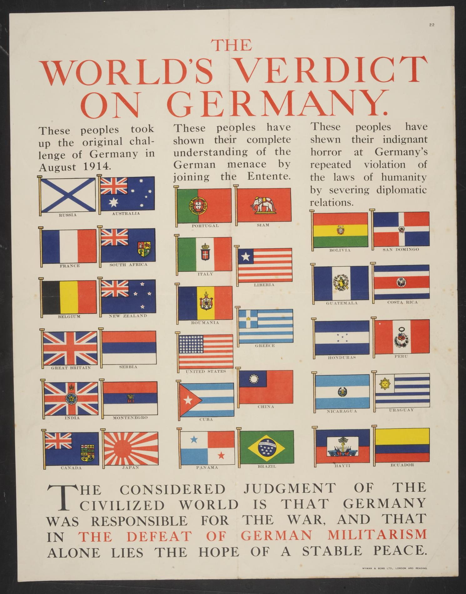 The World's Verdict on Germany (Poster)