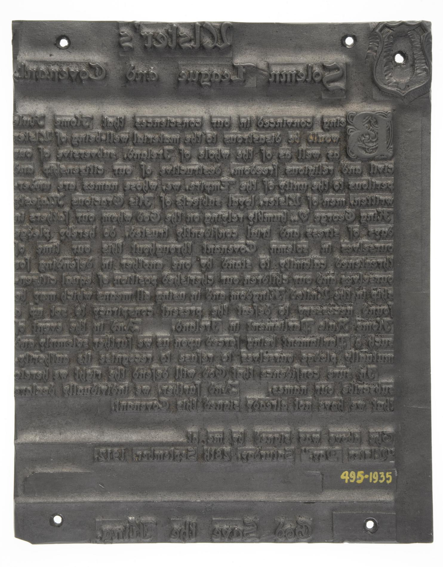 Ulster Solemn League and Covenant (Printing plate)