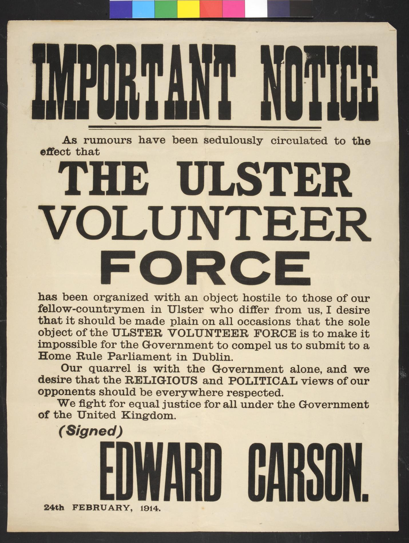 The Ulster Volunteer Force (POSTERS; Political poster)