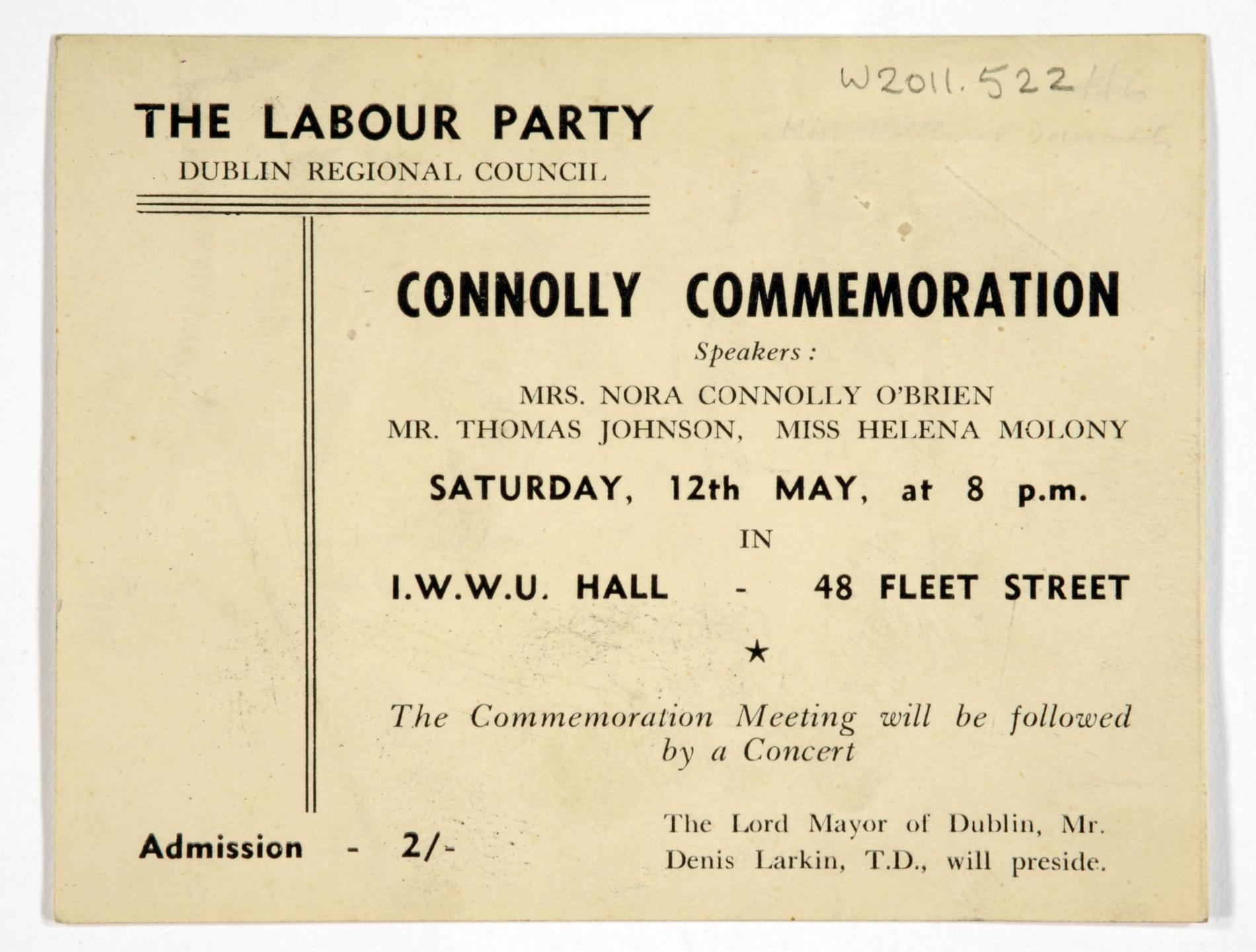 Connolly Commemoration (Ticket)