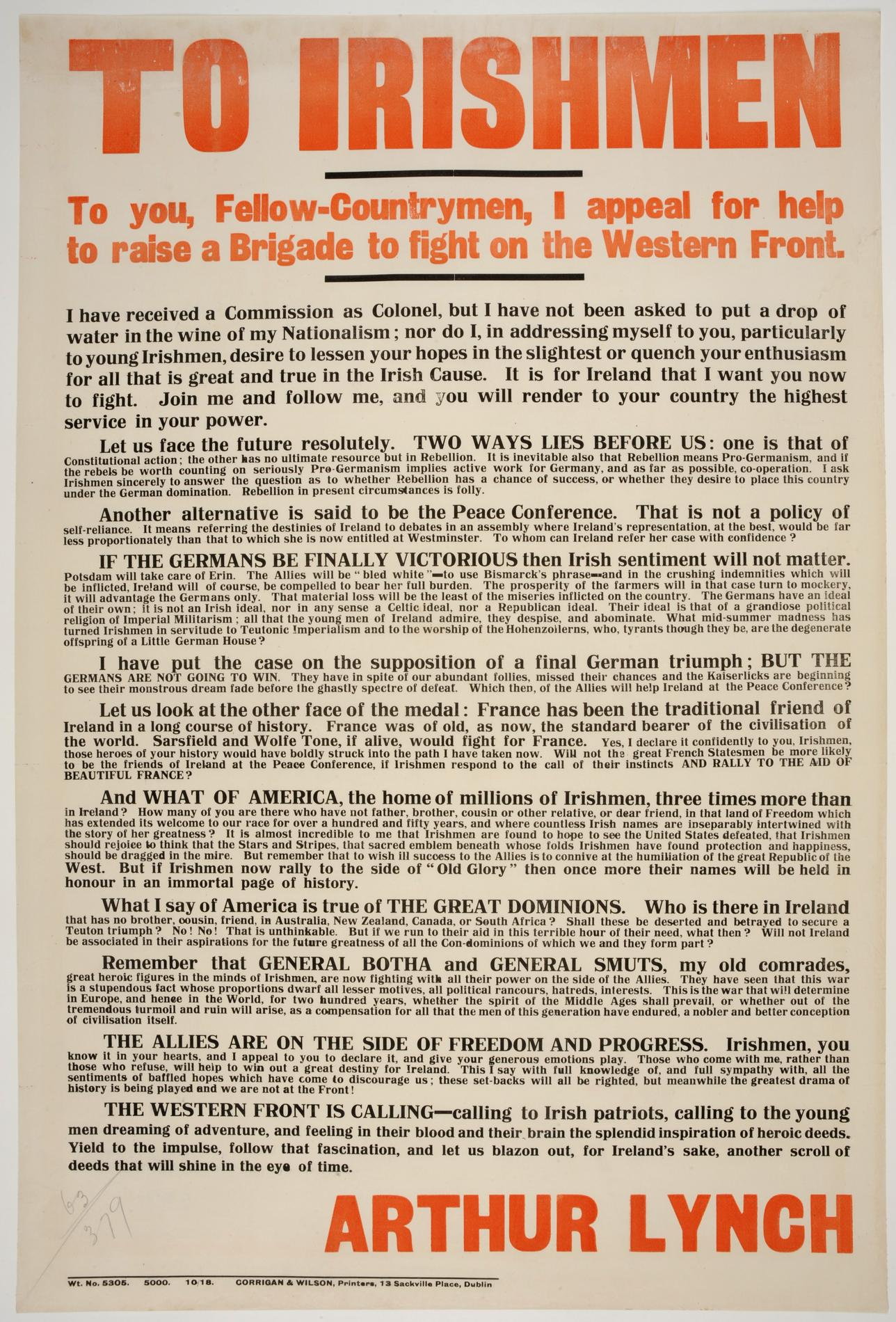 To Irishmen, to you fellow countrymen I appeal for help (Poster)
