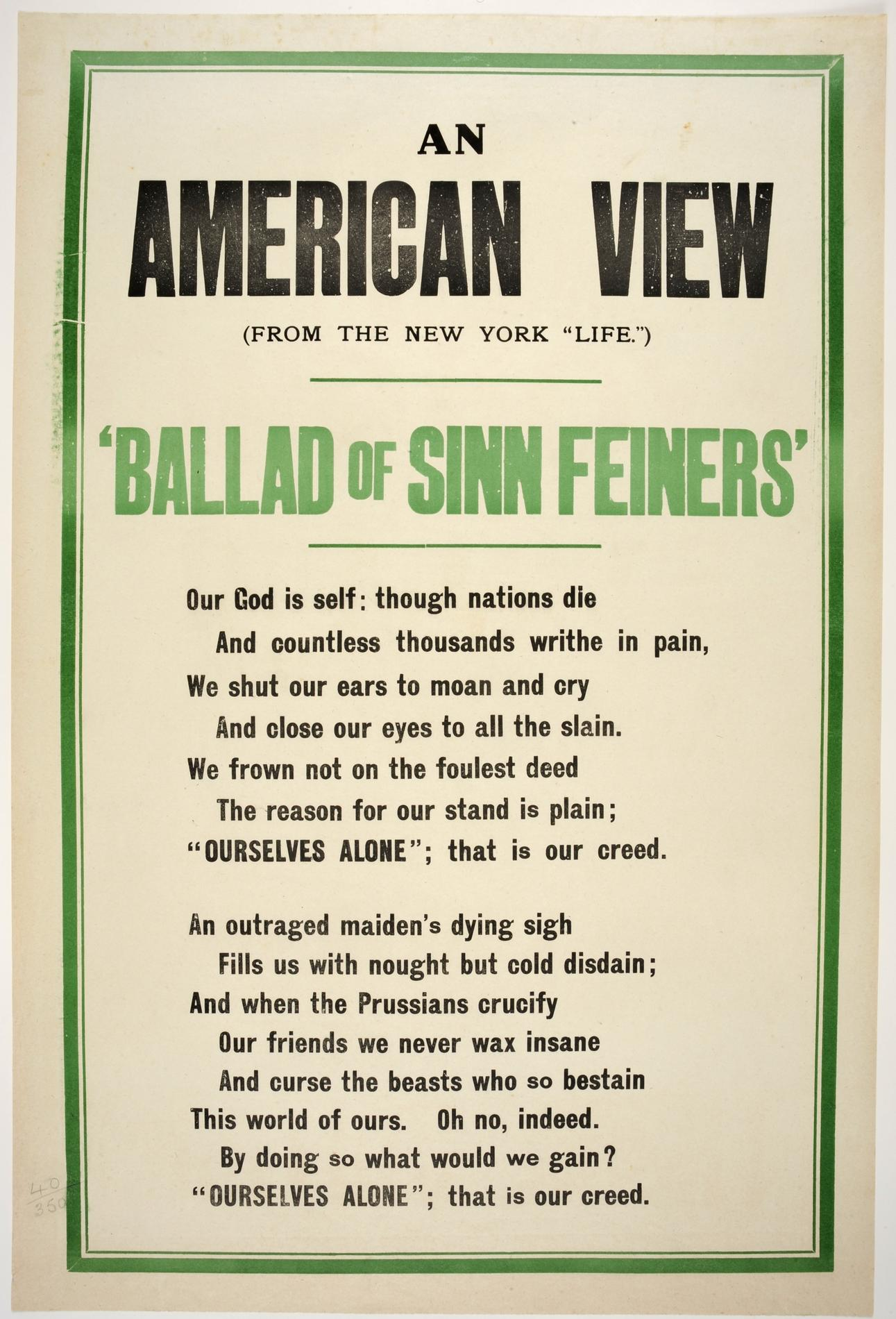 """'An American view. (from the New York """"Life""""). Ballad of Sinn Feiners' (Poster)"""