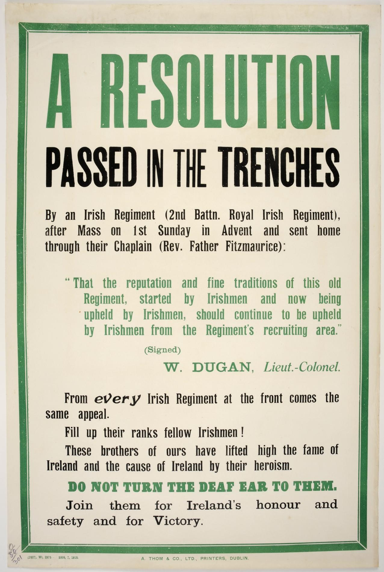 A resolution passed in the trenches'