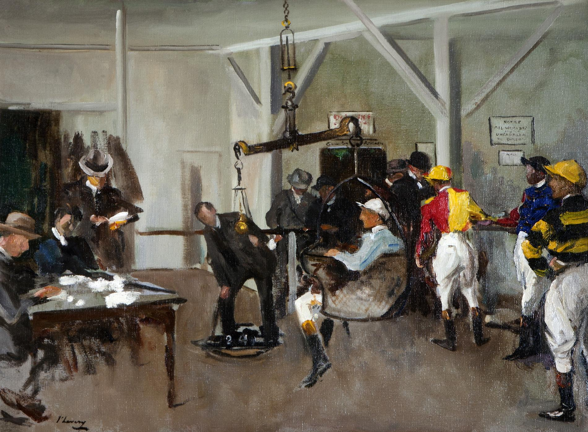 The Weighing Room, Hurst Park (1924) (Painting)