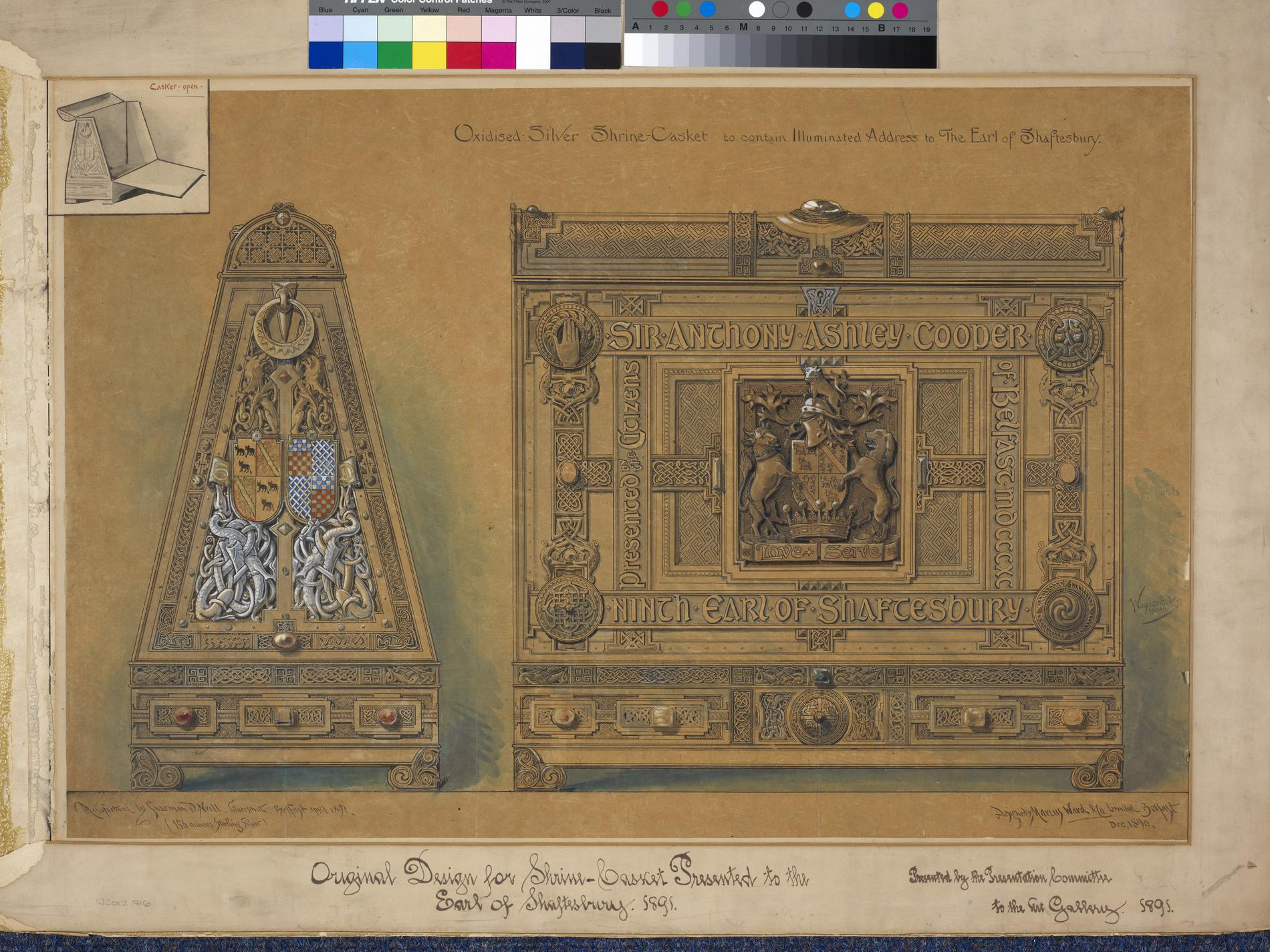 Oxdised Silver Shrine Casket to contain Illuminated Address to the Earl of Shaftesbury (Design)