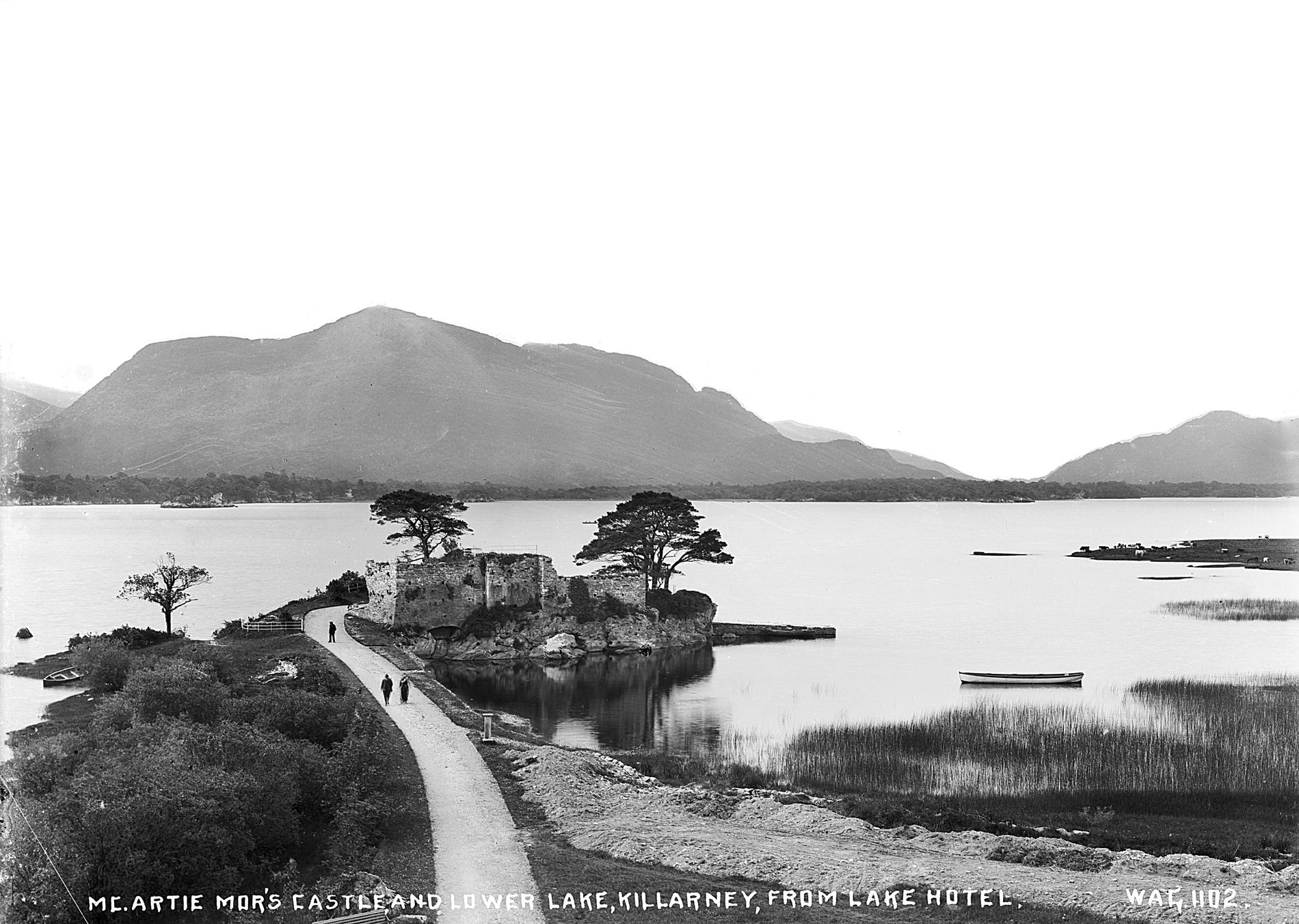 MC.ARTIE MOR'S CASTLE, AND LOWER LAKE, KILLARNEY, FROM LAKE HOTEL (Photograph; glass plate negative)