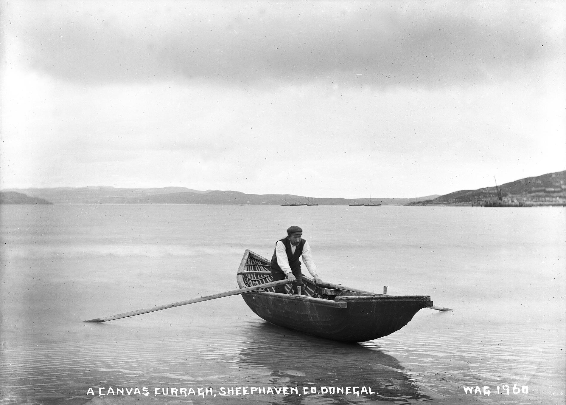 A CANVAS CURRAGH, SHEEPHAVEN, CO. DONEGAL (Photograph; glass plate negative)