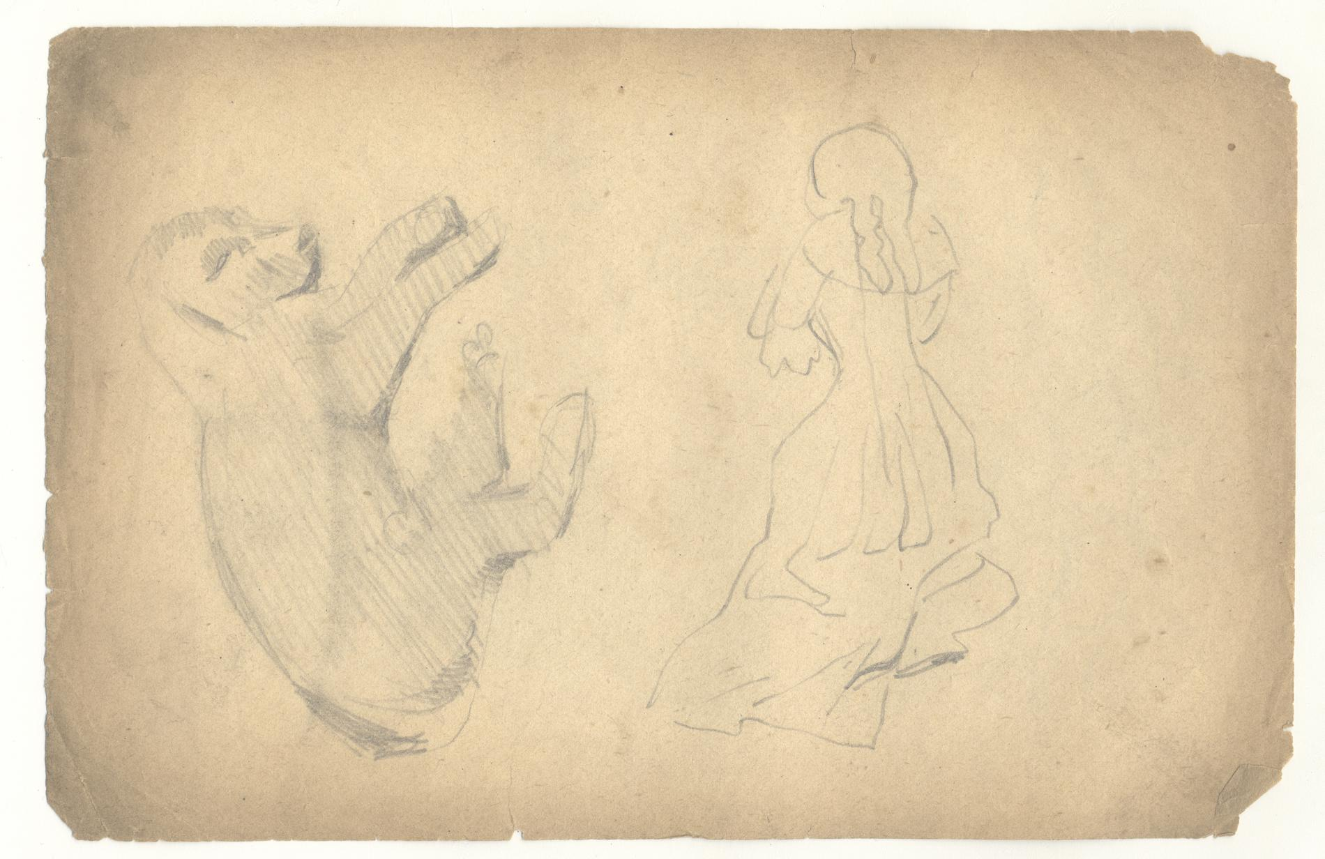 Study of a Puppy; Study of a Woman: Verso, Study of a Man in 18th Century Costume (Drawing)