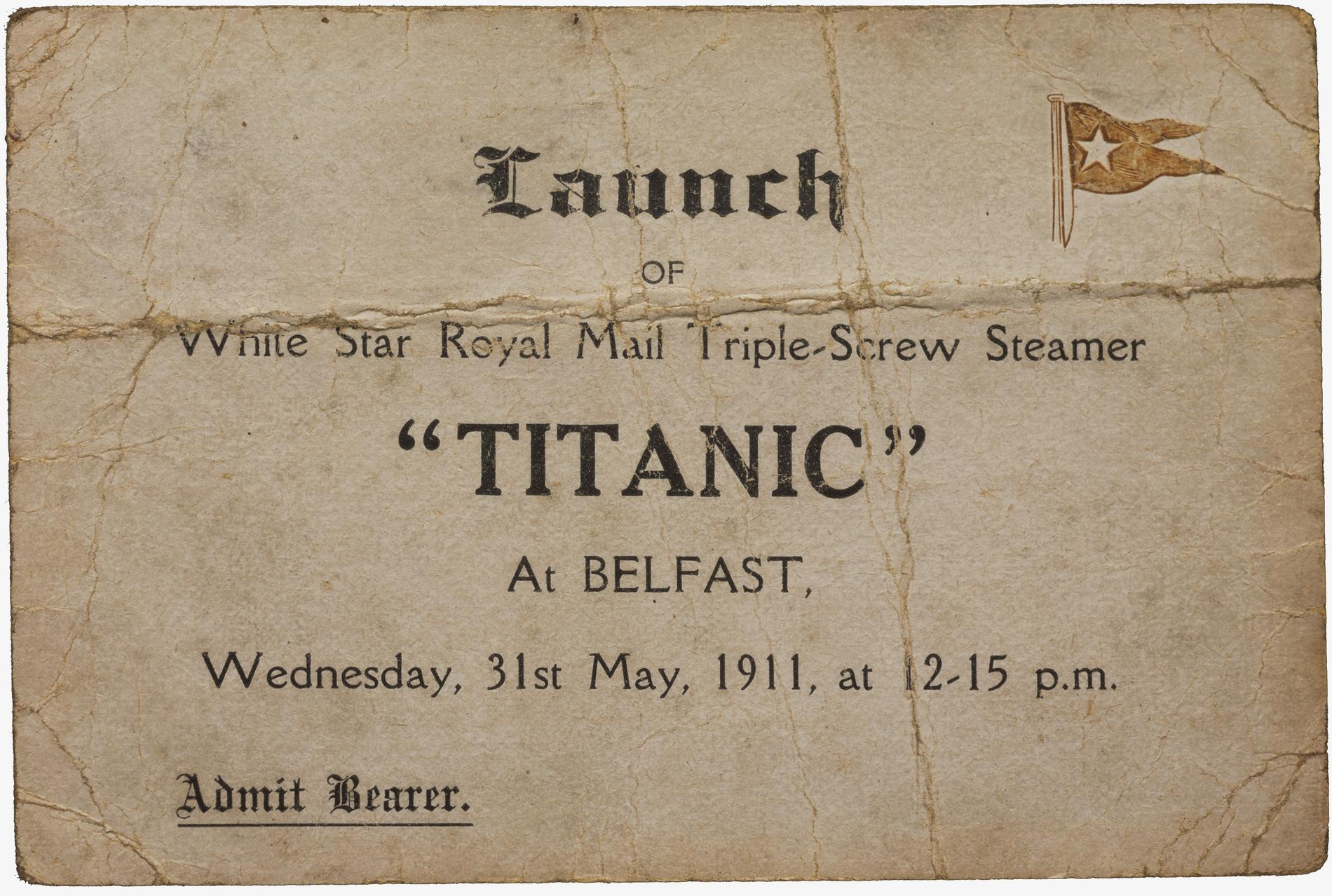 Launch ticket for Titanic